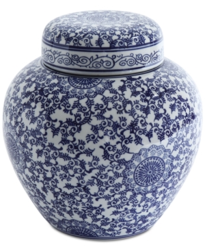 "Image of 12"" x 10.5"" Decorative Stoneware Ginger Jar With Lid Blue/White - 3R Studios"