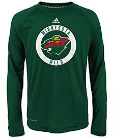 adidas Minnesota Wild Practice Graphic Long Sleeve T-Shirt, Big Boys (8-20)