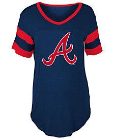 5th & Ocean Women's Atlanta Braves Sleeve Stripe Relax T-Shirt