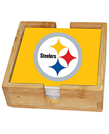 Memory Company Pittsburgh Steelers 4-Pack Square Coaster With Caddy Set