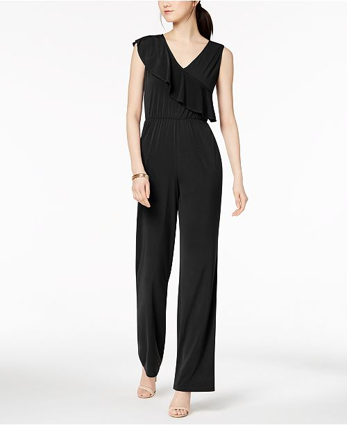 NY Collection Petite Ruffled Jumpsuit