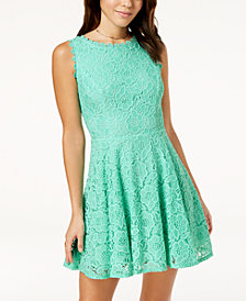 City Studios Juniors' Lace Fit & Flare Dress