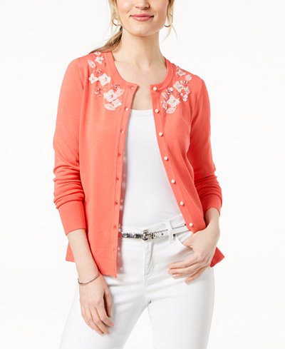 Charter Club Embellished Appliqué-Detail Cardigan, Created for Macy's