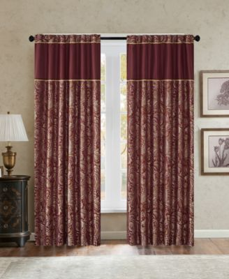 "Aubrey 50"" x 84"" Paisley Jacquard Faux-Silk Rod Pocket/Back Tab Curtain Panel Pair"