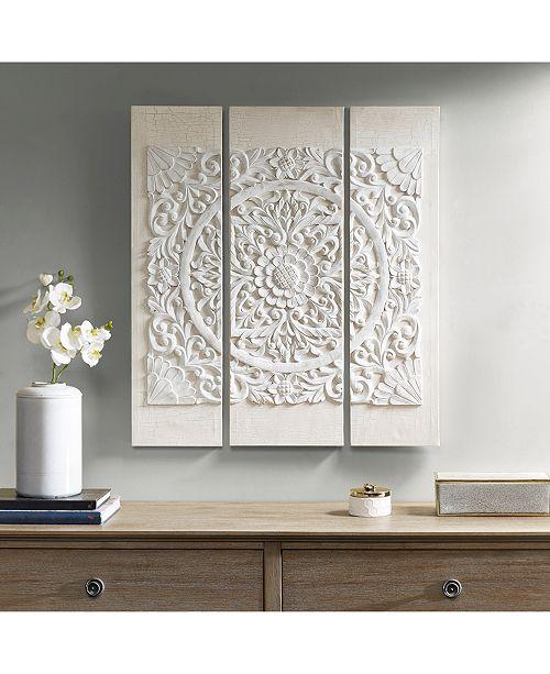 JLA Home Madison Park Wooden Mandala White 3-Pc. 3D Embellished ...