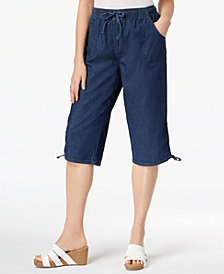Karen Scott Petite Cotton Denim Skimmer Pants, Created for Macy's