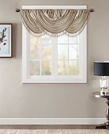 "Elena 38"" x 46"" Faux-Silk Rod Pocket Waterfall Valance"