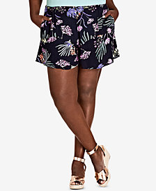 City Chic Trendy Plus Size Exotic Garden Printed Shorts