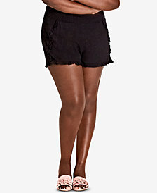 City Chic Trendy Plus Size Ruffled-Hem Shorts