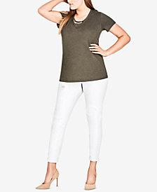 City Chic Trendy Plus Size Cotton Cross-Neck Top