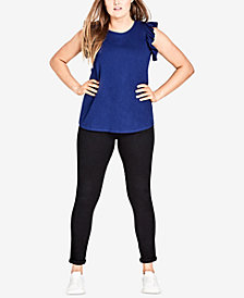 City Chic Trendy Plus Size Cotton Ruffled-Trim Top