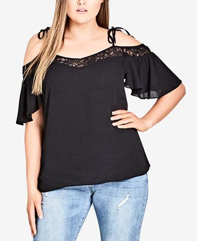 City Chic Trendy Plus Size Lace-Trim Cold-Shoulder Top