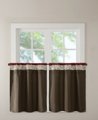 "Serene 60"" x 36"" Colorblocked Embroidered Rod Pocket Kitchen Tier Pair"