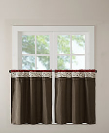 "Madison Park Serene 60"" x 36"" Colorblocked Embroidered Rod Pocket Kitchen Tier Pair"