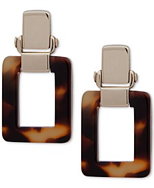 Gold-Tone Tortoise Shell-Look Square Drop Earrings