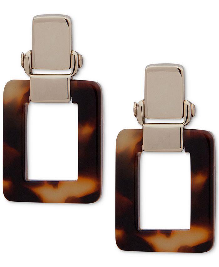 Lauren Ralph Lauren - Gold-Tone Tortoise Shell-Look Square Drop Earrings