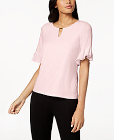 Calvin Klein Ruffled-Sleeve Top