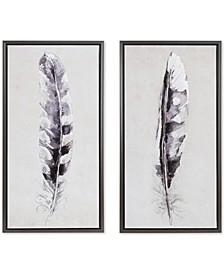 Madison Park Flight Feathers 2-Pc. Framed Gel-Coated Canvas Print Set with Silver-Tone Foil