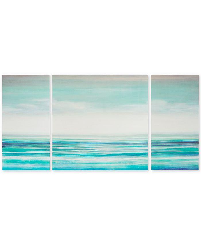 JLA Home - Madison Park Teal Tides 3-Pc. Gel-Coated Canvas Print Set