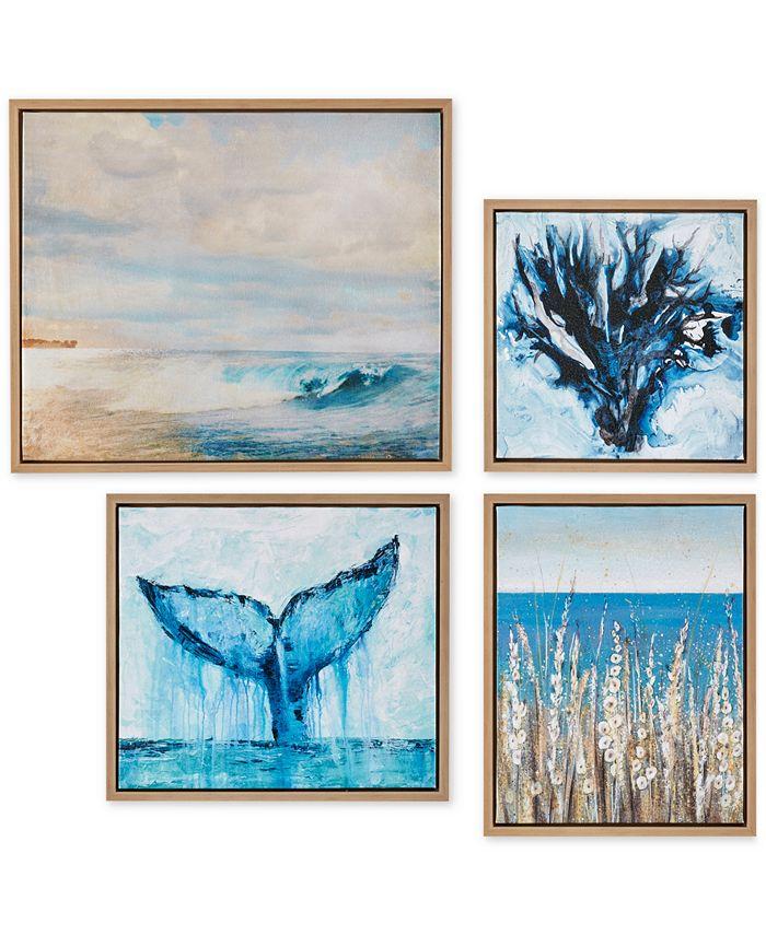 JLA Home - Madison Park Seascape 4-Pc. Framed Gel-Coated Canvas Print Set