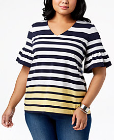 Charter Club Plus Size Striped Ruffle-Sleeve Top, Created for Macy's