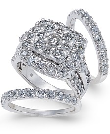 Diamond Cluster 3-Pc. Bridal Set (4 ct. t.w.) in 14k White Gold