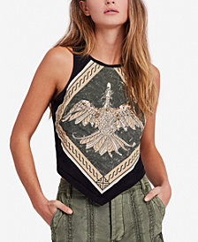 Free People Dawn Embellished Graphic Cutout Top