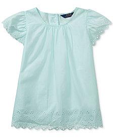Polo Ralph Lauren Flutter-Sleeve Cotton Top, Big Girls