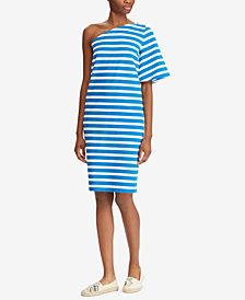 Lauren Ralph Lauren One-Shoulder Striped Cotton Dress