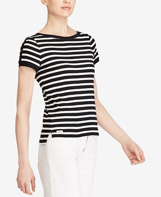 Lauren Ralph Lauren Striped Button-Shoulder Tee