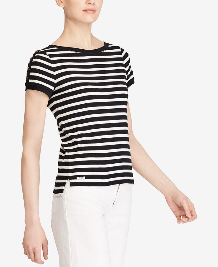 Lauren Ralph Lauren - Striped Button-Shoulder Tee