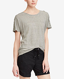 Lauren Ralph Lauren Petite Lace-Up-Shoulder T-Shirt