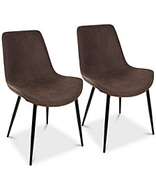 Duke Faux Leather Dining Chair (Set of 2), Quick Ship
