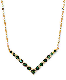 "Emerald (7/8 ct. t.w.) & Diamond Accent Chevron 17"" Collar Necklace in 10k Gold"