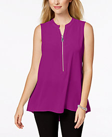 Alfani Petite Zip-Front Top, Created for Macy's