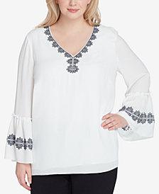 Tahari ASL Plus Size Embroidered Top