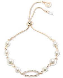 Anne Klein Gold-Tone Imitation Pearl & Pavé Slider Bracelet