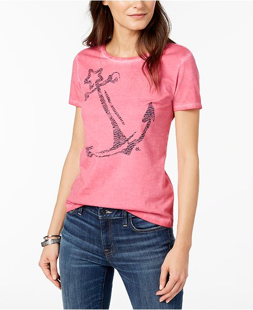 83ec90964 ... Tommy Hilfiger Cotton Anchor-Print T-Shirt, Created for Macy's ...