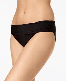 Calvin Klein Liquid Ruched-Waist Bikini Bottoms