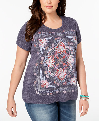 Style & Co Plus Size Metallic-Graphic T-Shirt, Created for Macy's