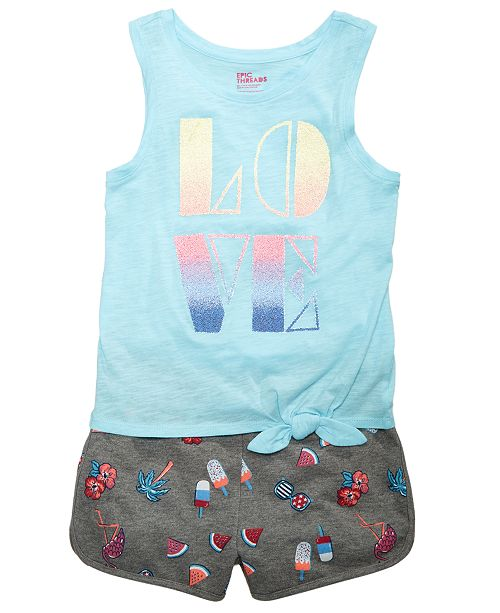 Epic Threads Tie-Detail Tank Top & Printed Dolphin Shorts, Big Girls, Created for Macy's