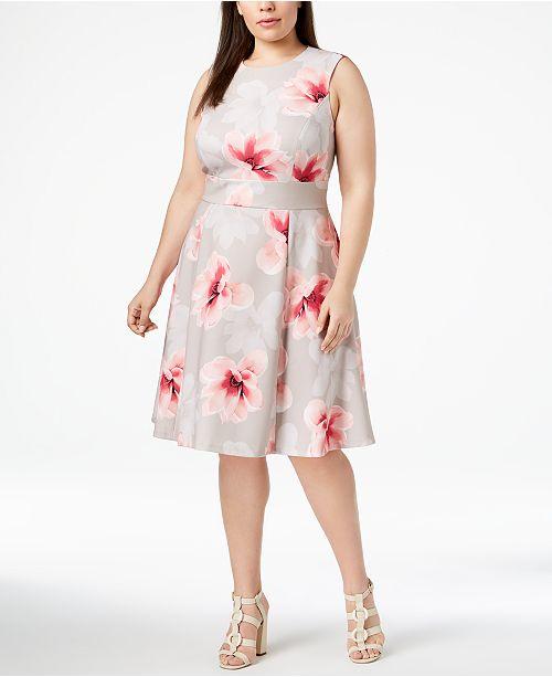 22fa54e23b5 Calvin Klein Plus Size Floral-Print Fit   Flare Dress   Reviews ...