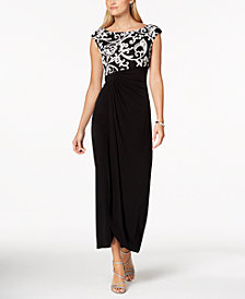 Connected Petite Soutache Draped Gown