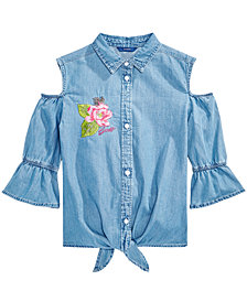 GUESS Cold Shoulder Cotton Denim Shirt, Big Girls