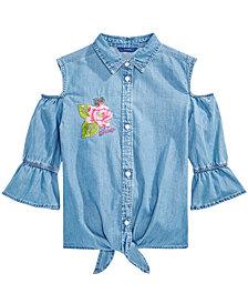 GUESS Cold Shoulder Cotton Denim Shirt, Big Girls