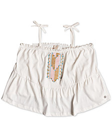 Roxy Embroidered Cotton Top, Big Girls