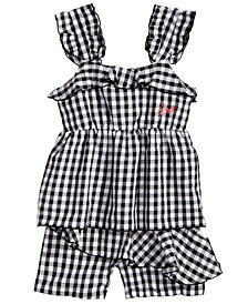 GUESS Ruffle-Trim Gingham Top & Shorts, Big Girls