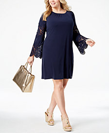 MICHAEL Michael Kors Plus Size Lace-Sleeve Dress