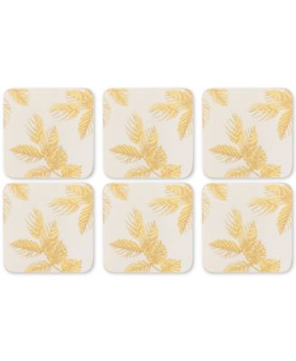 Pimpernel Etched Leaves Set of 6 Light Gray Coasters