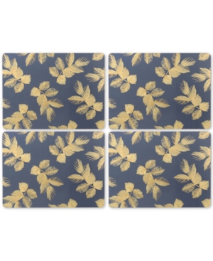 Pimpernel Etched Leaves Navy Set of 4 Placemats